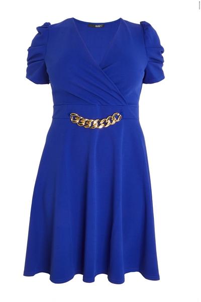 Curve Blue Chain Skater Dress